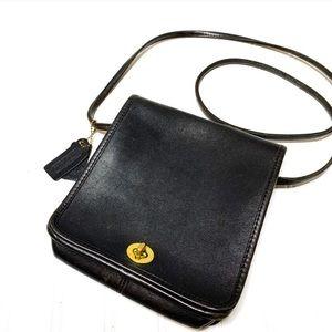 Vintage COACH black leather cross body purse